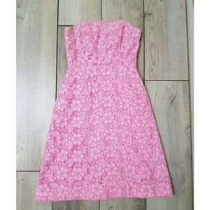 Lilly Pulitzer Pink Floral Crochet Strapless Dress